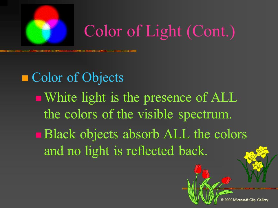 Color of Light (Cont.) Primary Colors of Light Three colors that can be mixed to produce any other colored light Red + blue + green = white light Complimentary Colors of Light Two complimentary colors combine to make white light-Magenta,Cyan,Yellow © 2000 Microsoft Clip Gallery