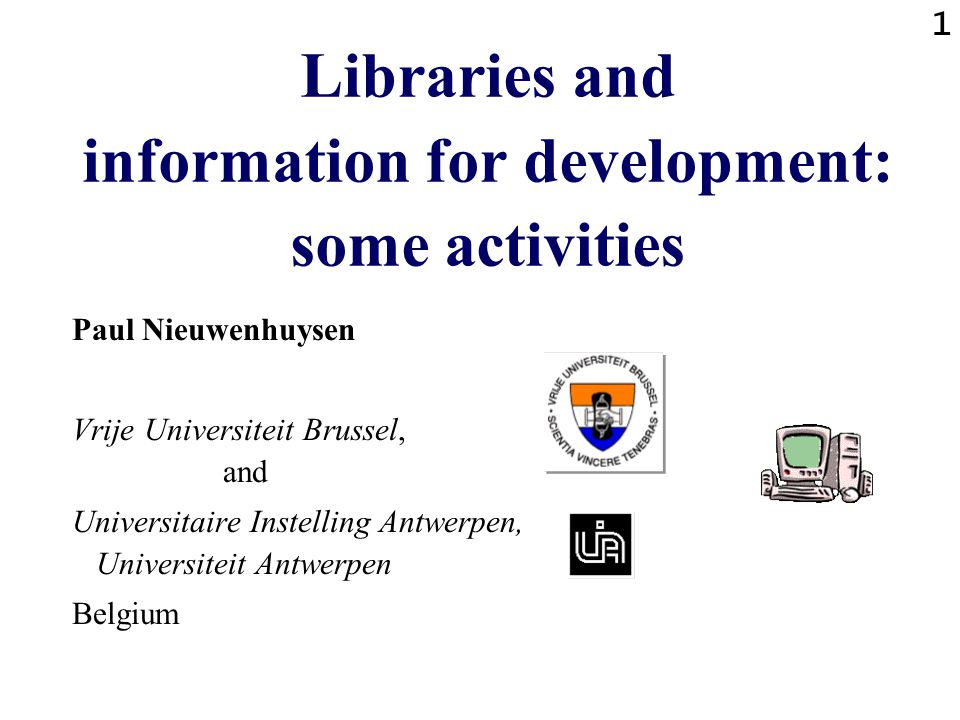 2 Libraries and information for development: overview of activities Consultancy with Unesco - PGI in Zimbabwe Consultancy with Unesco - IHP in Burkina, Guinee,… Teaching in RECOSCIX project in Eastern Africa Consultancy with Unesco in Eastern Europe Teaching for Unesco - Southern Africa Organisation of international training programs .