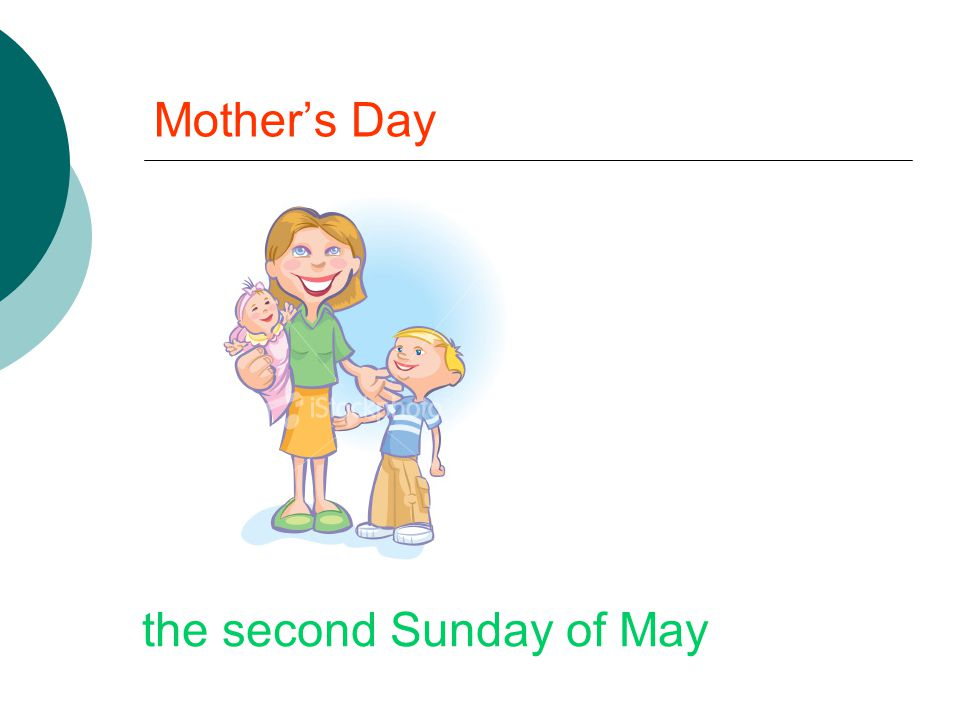 Mother's Day the second Sunday of May