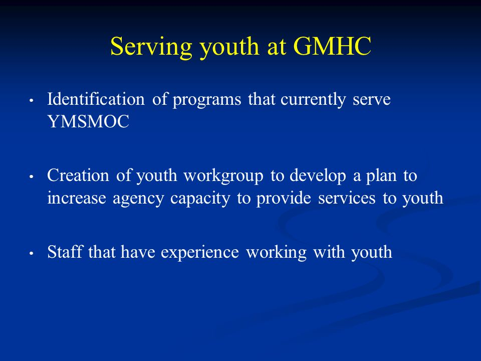 Serving youth at GMHC Identification of programs that currently serve YMSMOC Creation of youth workgroup to develop a plan to increase agency capacity