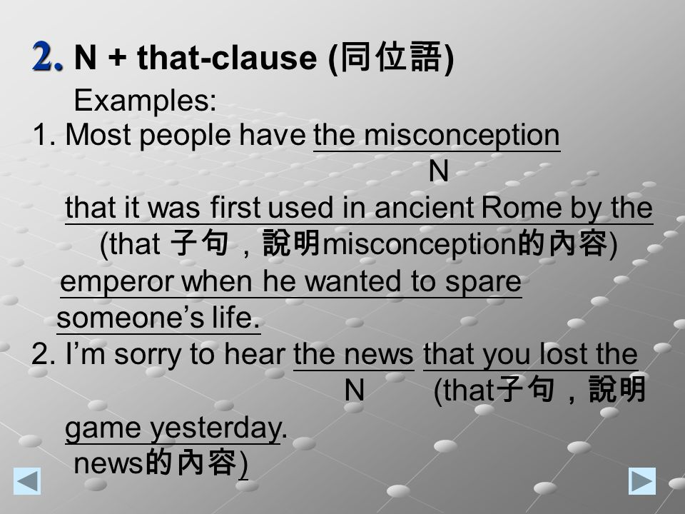 2. 2. N + that-clause ( 同位語 ) Examples: 1.