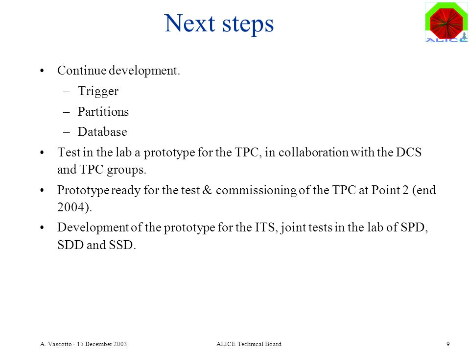 A. Vascotto - 15 December 2003ALICE Technical Board9 Next steps Continue development.
