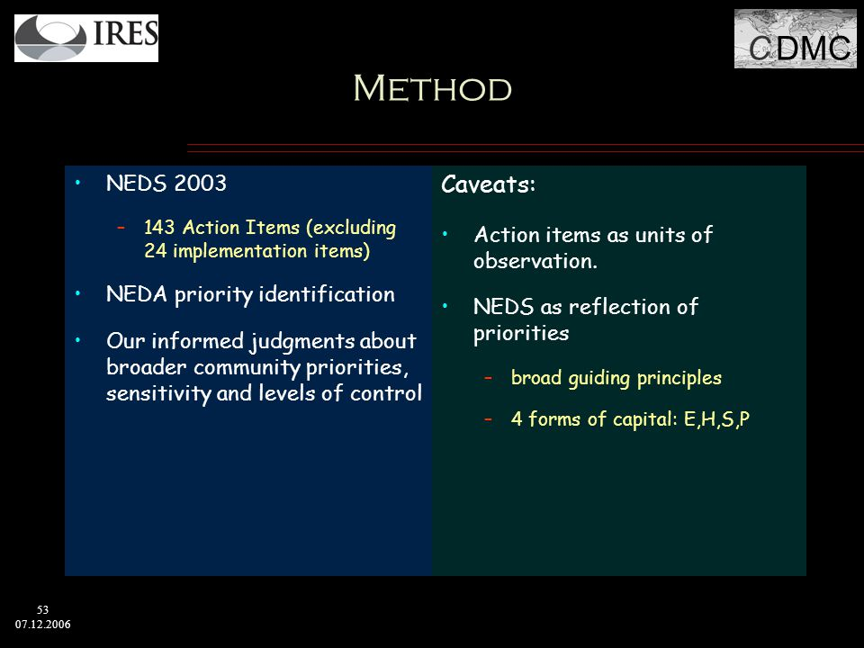 C DMC 53 07.12.2006 Method NEDS 2003 –143 Action Items (excluding 24 implementation items) NEDA priority identification Our informed judgments about broader community priorities, sensitivity and levels of control Caveats: Action items as units of observation.