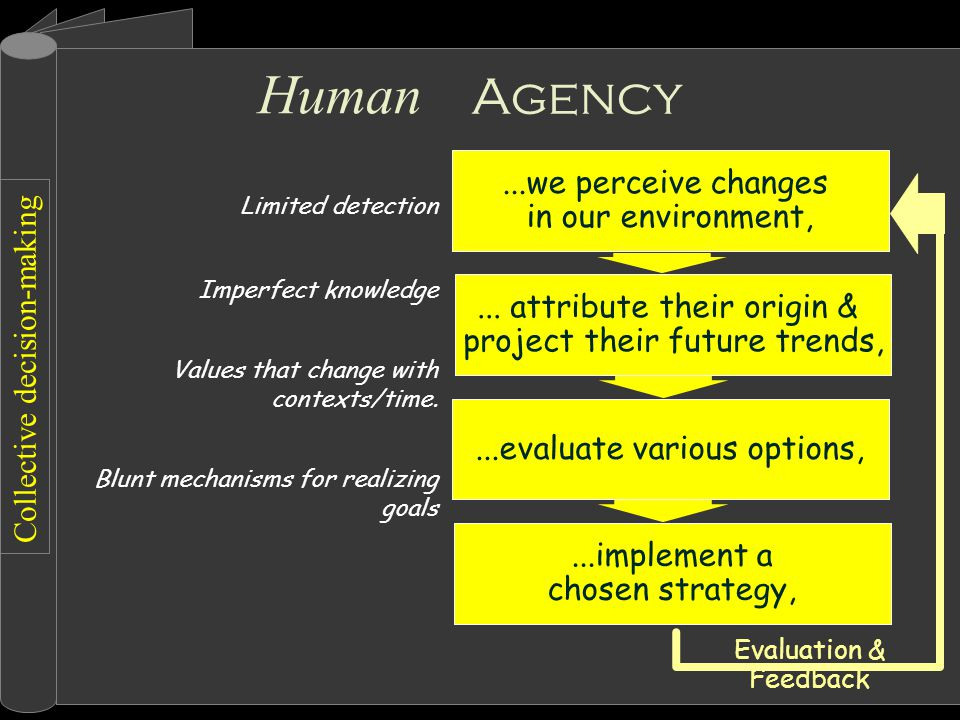 Collective decision-making Agency Limited detection Imperfect knowledge Values that change with contexts/time.