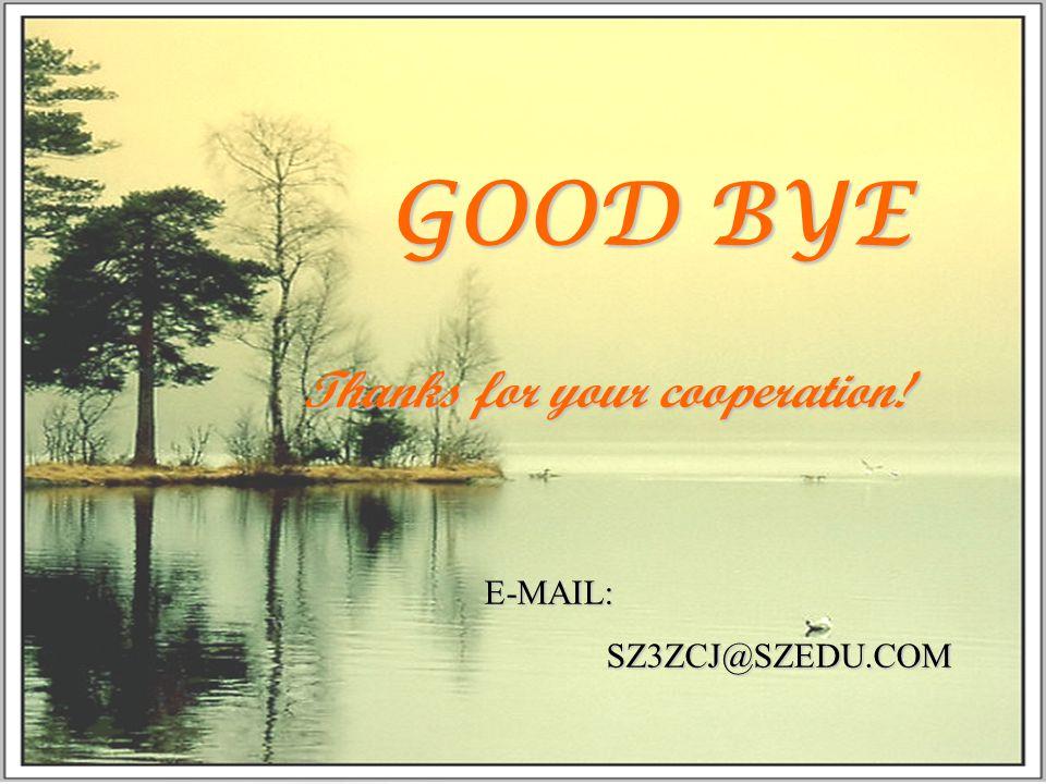 Thanks for your cooperation! E-MAIL: SZ3ZCJ@SZEDU.COM SZ3ZCJ@SZEDU.COM GOOD BYE