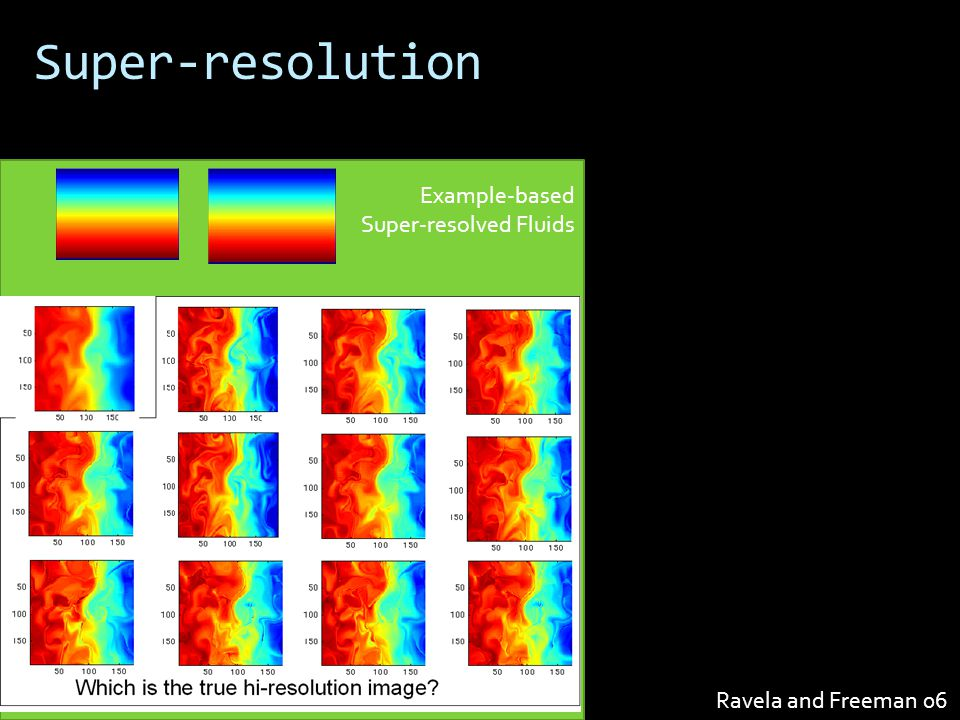 Example-based Super-resolved Fluids Super-resolution Ravela and Freeman 06