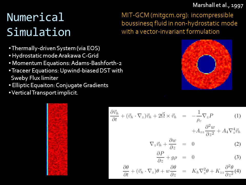 Numerical Simulation MIT-GCM (mitgcm.org): incompressible boussinesq fluid in non-hydrostatic mode with a vector-invariant formulation Thermally-driven System (via EOS) Hydrostatic mode Arakawa C-Grid Momentum Equations: Adams-Bashforth-2 Traceer Equations: Upwind-biased DST with Sweby Flux limiter Elliptic Equaiton: Conjugate Gradients Vertical Transport implicit.