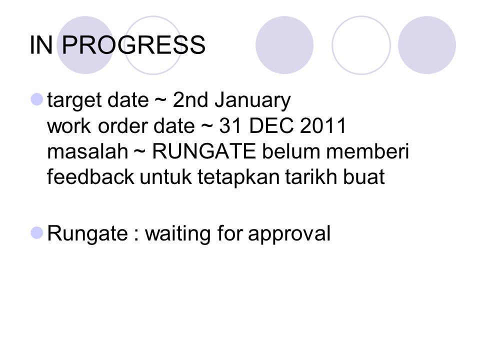 IN PROGRESS target date ~ 2nd January work order date ~ 31 DEC 2011 masalah ~ RUNGATE belum memberi feedback untuk tetapkan tarikh buat Rungate : waiting for approval