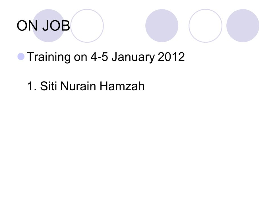 ON JOB Training on 4-5 January 2012 1. Siti Nurain Hamzah