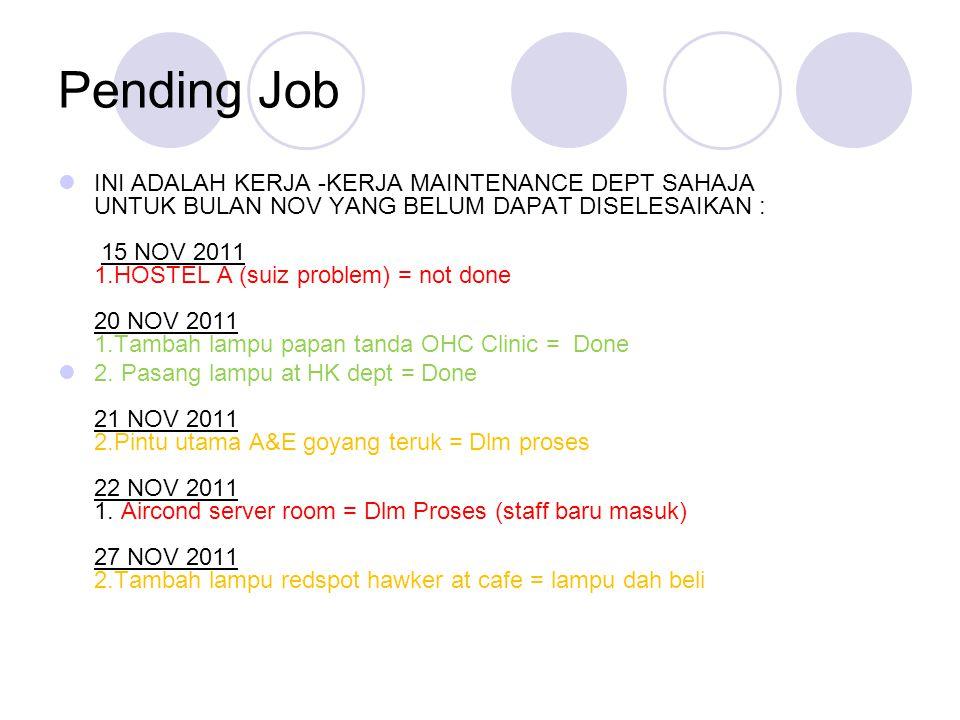 Pending Job INI ADALAH KERJA -KERJA MAINTENANCE DEPT SAHAJA UNTUK BULAN NOV YANG BELUM DAPAT DISELESAIKAN : 15 NOV 2011 1.HOSTEL A (suiz problem) = not done 20 NOV 2011 1.Tambah lampu papan tanda OHC Clinic = Done 2.