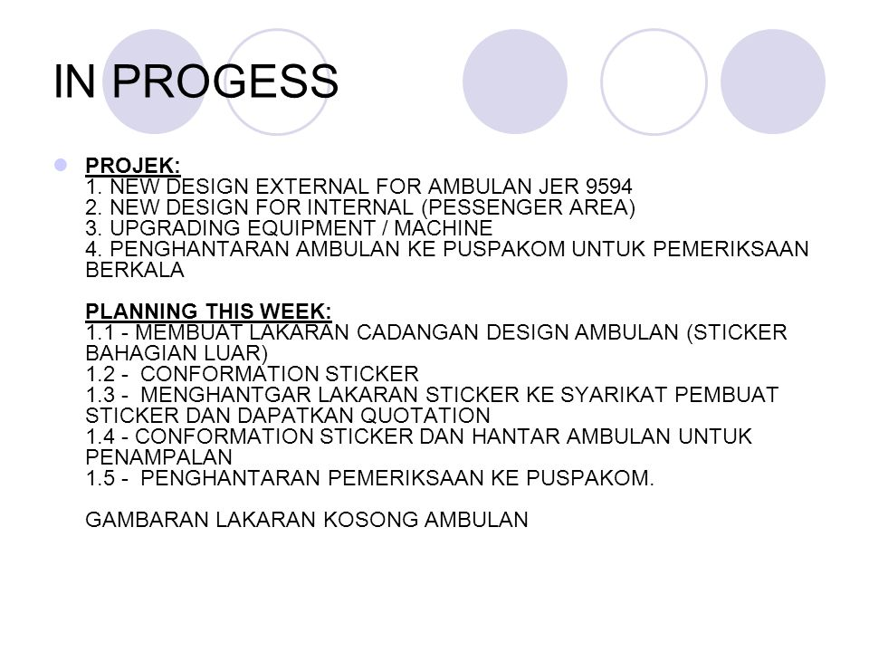 IN PROGESS PROJEK: 1. NEW DESIGN EXTERNAL FOR AMBULAN JER 9594 2.