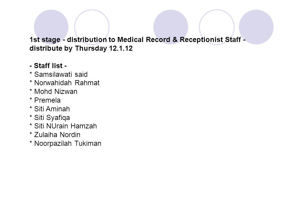 1st stage - distribution to Medical Record & Receptionist Staff - distribute by Thursday 12.1.12 - Staff list - * Samsilawati said * Norwahidah Rahmat