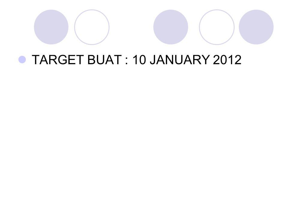TARGET BUAT : 10 JANUARY 2012