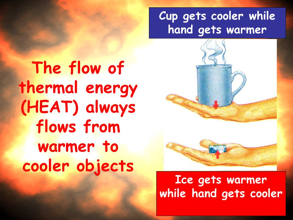 The flow of thermal energy (HEAT) always flows from warmer to cooler objects Cup gets cooler while hand gets warmer Ice gets warmer while hand gets co
