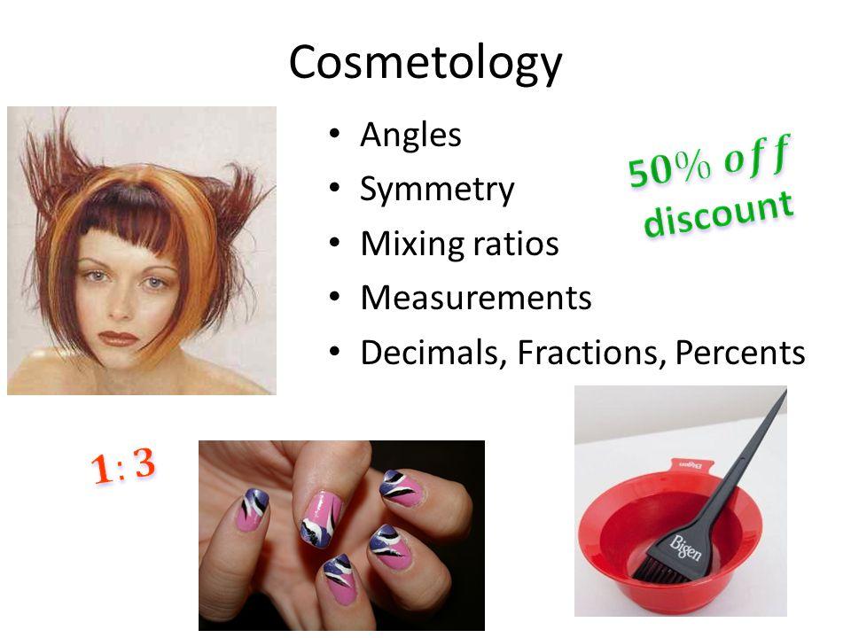 Cosmetology Angles Symmetry Mixing ratios Measurements Decimals, Fractions, Percents
