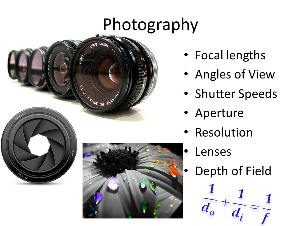 Photography Focal lengths Angles of View Shutter Speeds Aperture Resolution Lenses Depth of Field