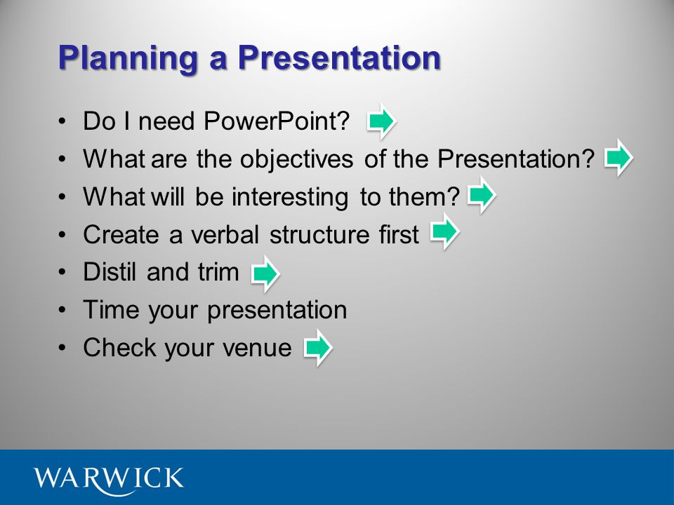 Planning a Presentation Advice on what to do before you start using PowerPoint