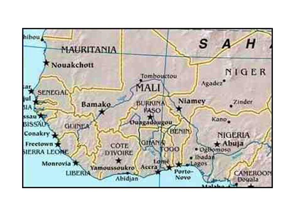 African Geography The Niger River - 3 rd longest on the continent, it rises in Guinea near the Sierra Leone border and flows into Nigeria and the Gulf