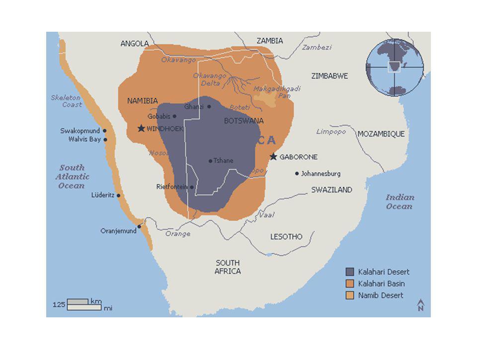 Kalahari Desert Kalahari, semi- arid plateau region is located in Botswana, Namibia, and South Africa. The Kalahari, a 1200 mile semi-arid sandy area
