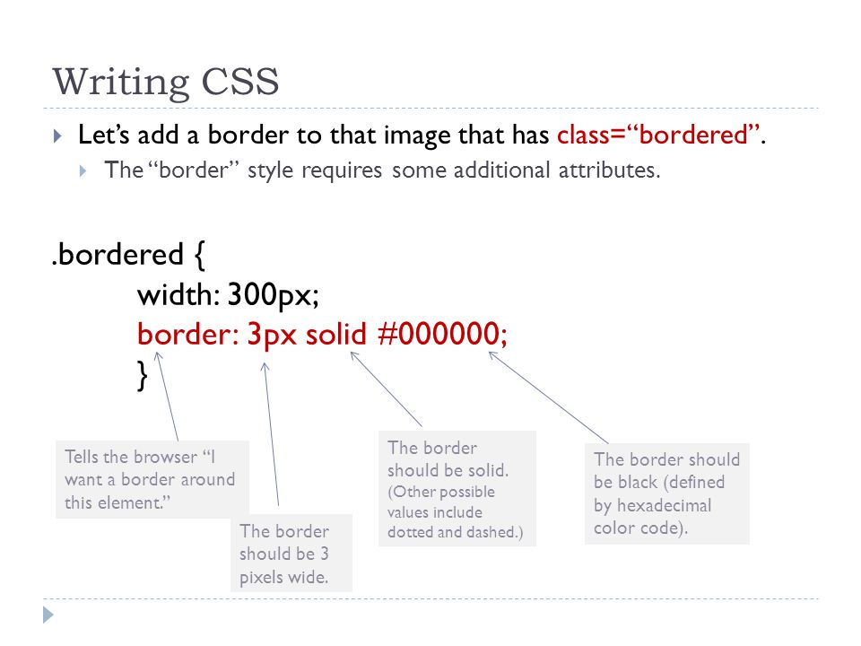"Writing CSS  Let's add a border to that image that has class=""bordered"".  The ""border"" style requires some additional attributes..bordered { width:"