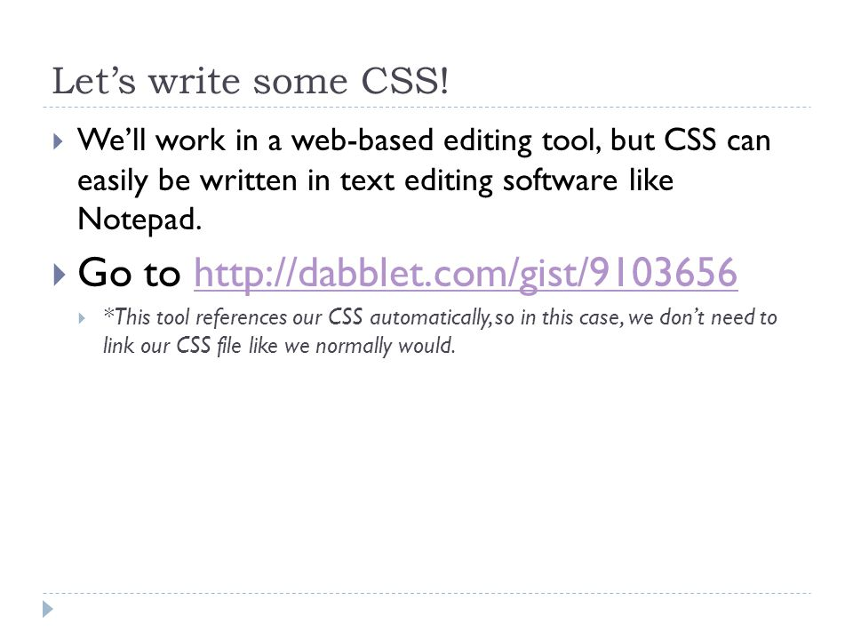 Let's write some CSS.