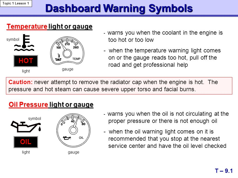 Dashboard Warning Symbols T – 9.1 Topic 1 Lesson 1 Temperature light or gauge - warns you when the coolant in the engine is too hot or too low - when