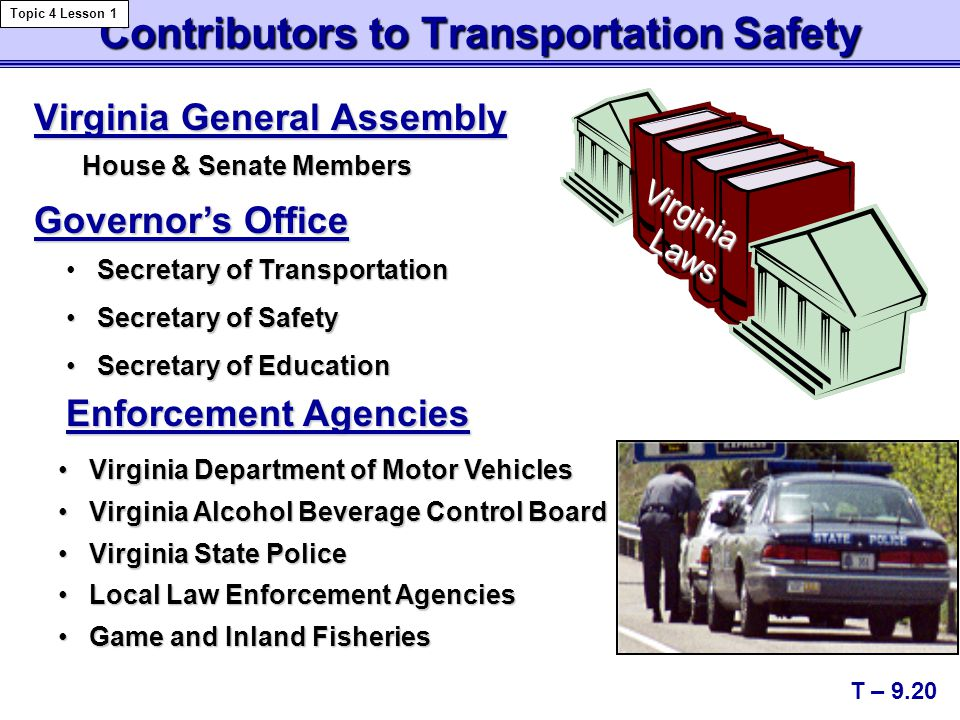 Contributors to Transportation Safety Virginia General Assembly House & Senate Members Virginia Department of Motor Vehicles Virginia Department of Mo