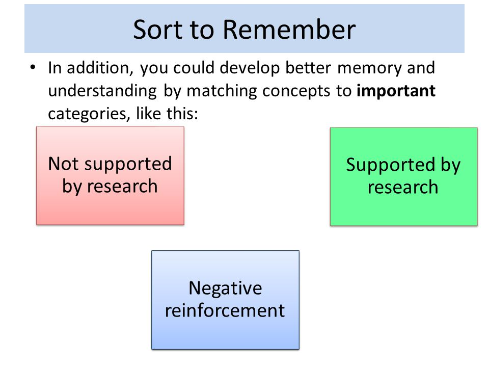 Sort to Remember In addition, you could develop better memory and understanding by matching concepts to important categories, like this: Negative rein