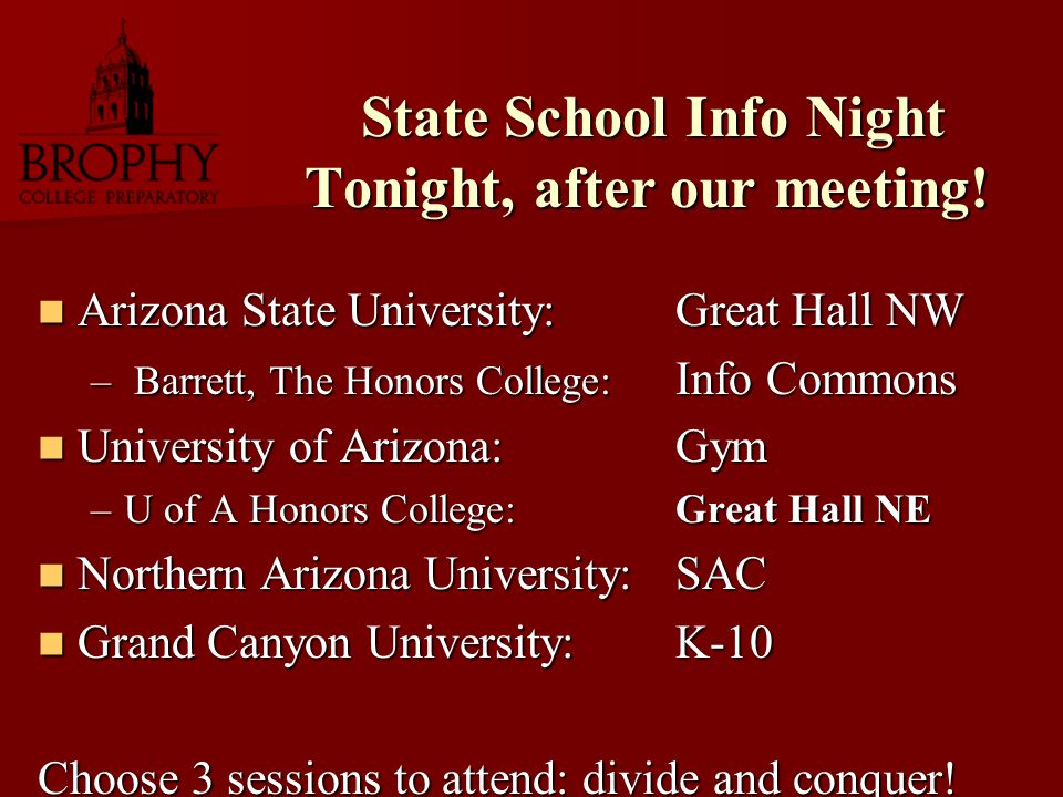 State School Info Night Tonight, after our meeting.