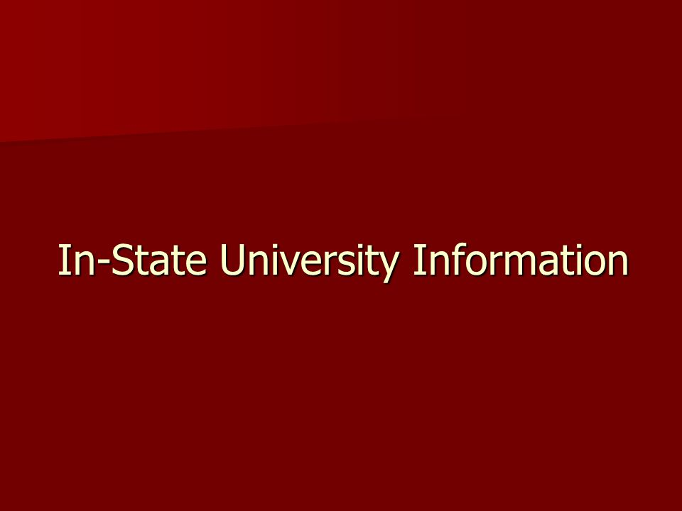 In-State University Information