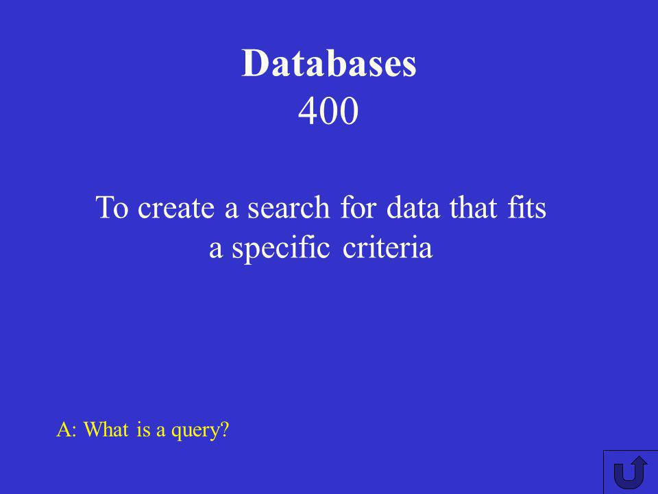 Databases 300 A: What is the purpose of the normalisation rules? This ensures that duplicate and redundant data is not present in a database.