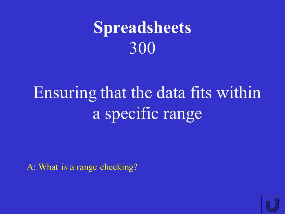 Spreadsheets 200 A:What is the natural alignment of data in a spreadsheet? Numbers to the right, text to the left