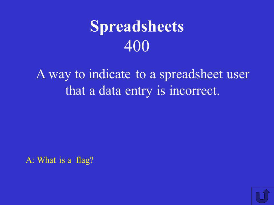 Spreadsheets 300 A: What is a range checking Ensuring that the data fits within a specific range