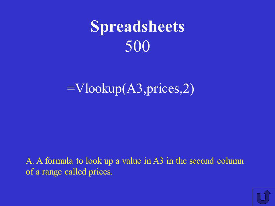 Spreadsheets 400 A: What is a flag? A way to indicate to a spreadsheet user that a data entry is incorrect.