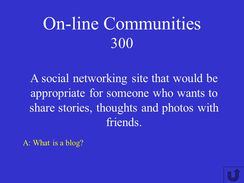 On-line Communities 200 A: How does a network improve communications.