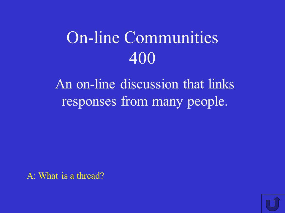On-line Communities 300 A: What is a blog? A social networking site that would be appropriate for someone who wants to share stories, thoughts and pho
