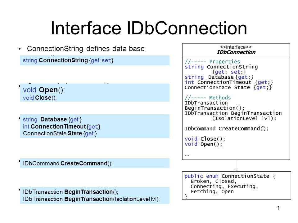 1 Interface IDbConnection ConnectionString defines data base connection Open and close connection Properties of connection object Creates Command-Object Creates Transaction-Object string ConnectionString {get; set;} string Database {get;} int ConnectionTimeout {get;} ConnectionState State {get;} IDbCommand CreateCommand(); IDbTransaction BeginTransaction(); IDbTransaction BeginTransaction(IsolationLevel lvl); void Open(); void Close();