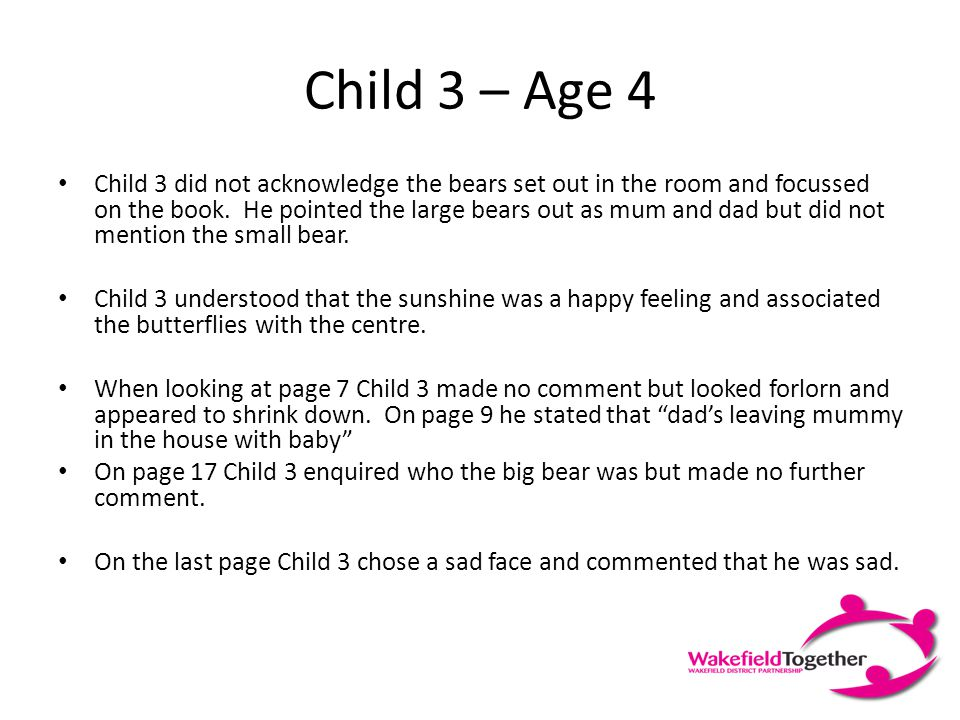 Child 2 – Age 2 ½ Child 2 chose the largest bear for dad and a medium one for mum.