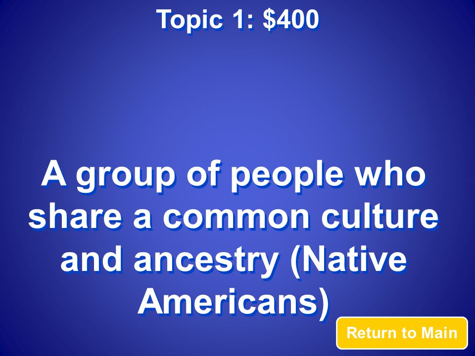 Topic 1: $400 Answer What is an ethnic group?
