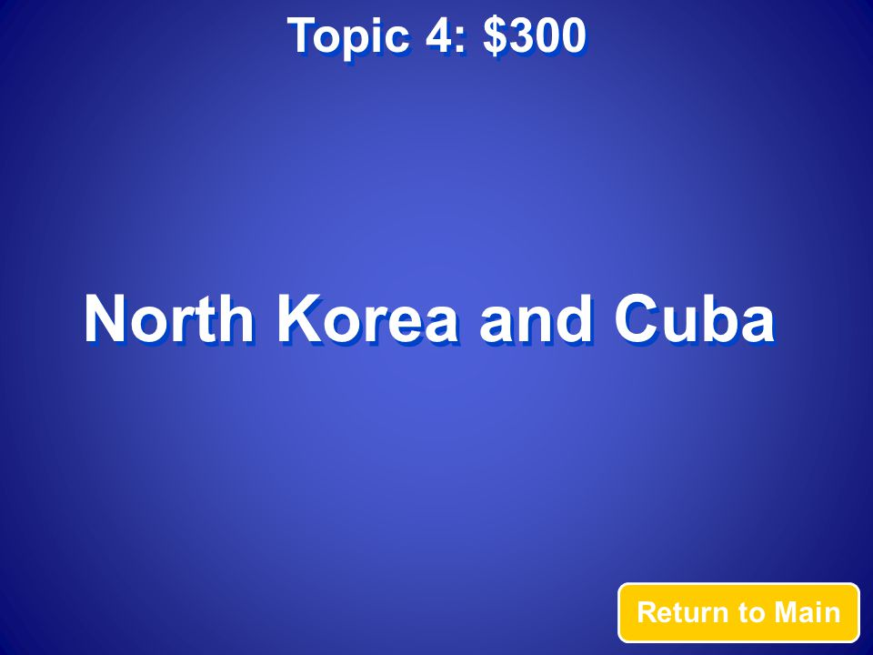 Topic 4: $300 Answer What countries do not sell Coca-cola?