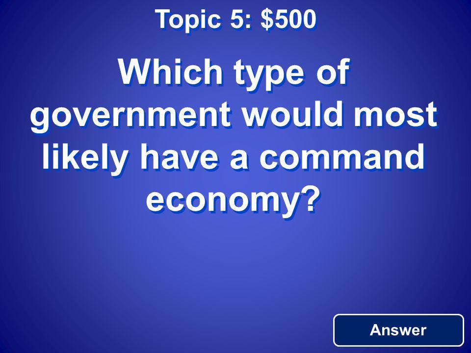 Topic 5: $400 Return to Main Market Economy