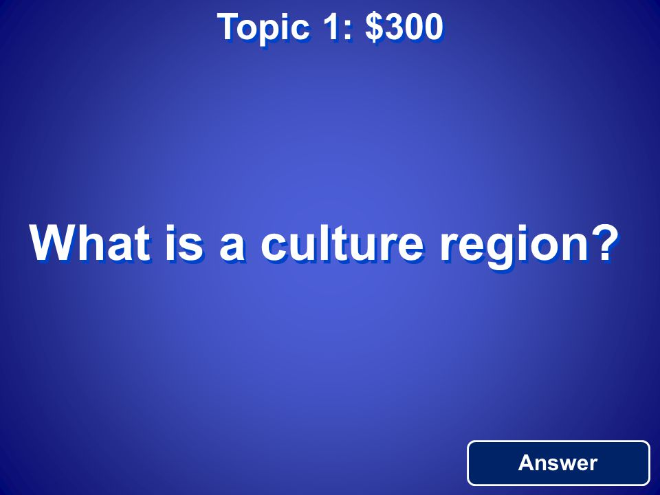 Topic 1: $200 Return to Main An activity or behavior people take part in (languages, customs)