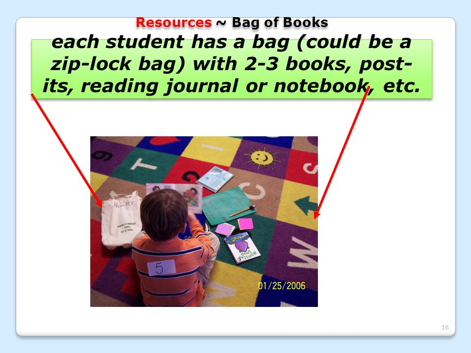 16 Resources ~ Bag of Books each student has a bag (could be a zip-lock bag) with 2-3 books, post- its, reading journal or notebook, etc.