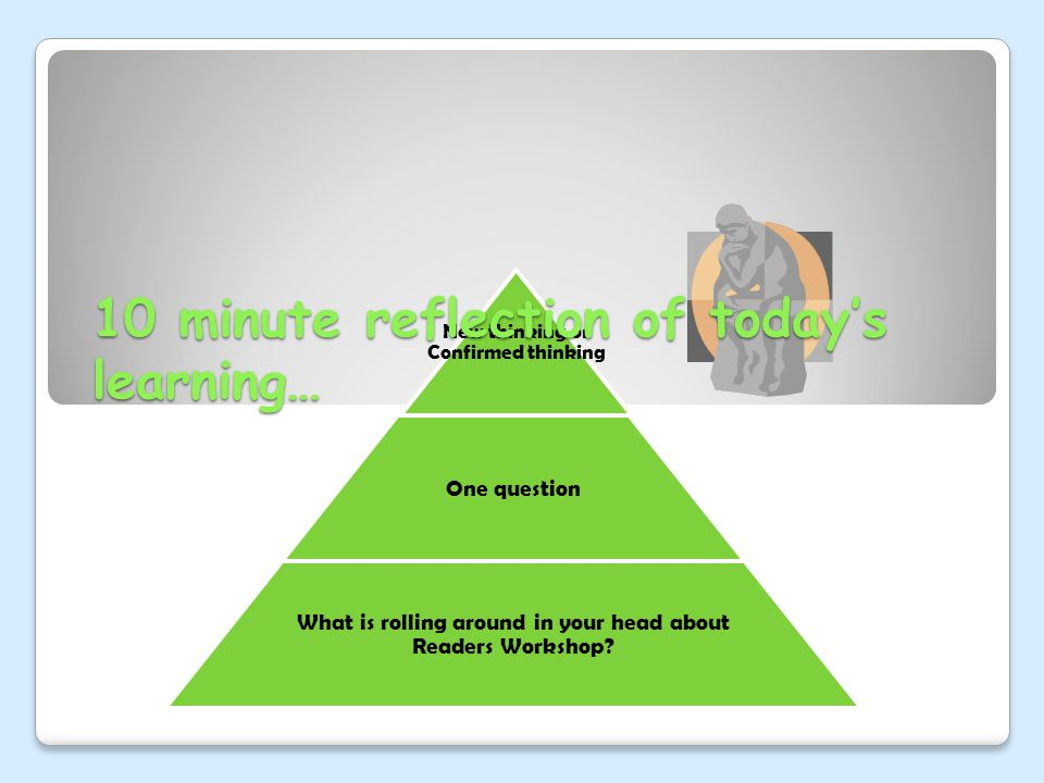 New thinking or Confirmed thinking One question What is rolling around in your head about Readers Workshop? 10 minute reflection of today's learning…