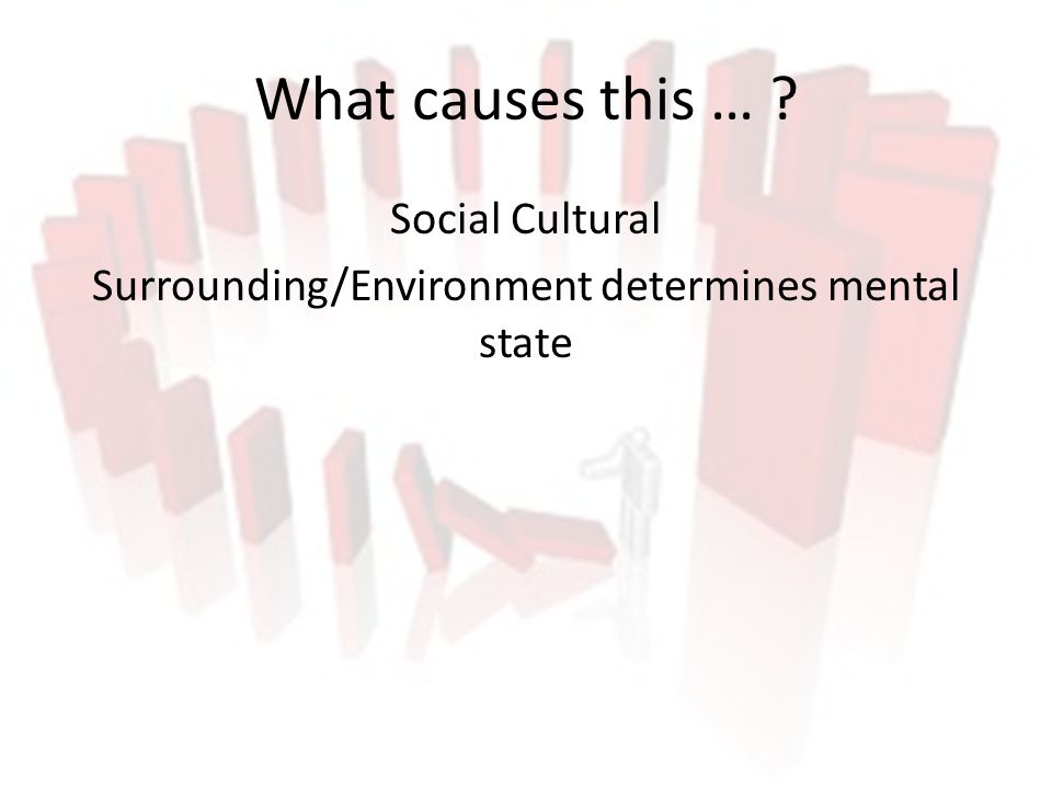 What causes this … ? Social Cultural Surrounding/Environment determines mental state