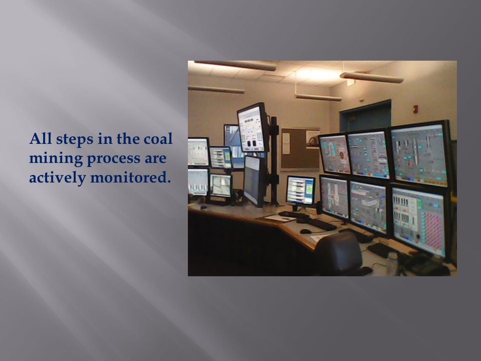 All steps in the coal mining process are actively monitored.