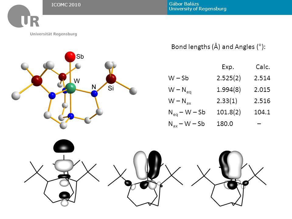 Gábor Balázs University of Regensburg ICOMC 2010 Bond lengths (Å) and Angles (°): Exp.