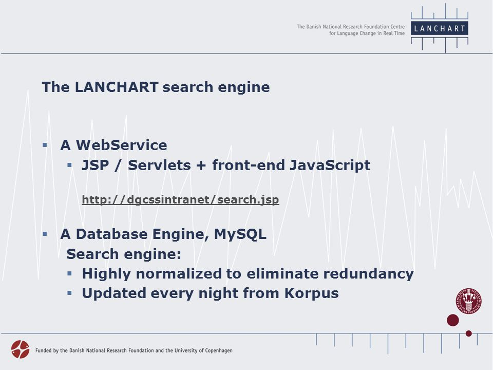 The LANCHART search engine  A WebService  JSP / Servlets + front-end JavaScript http://dgcssintranet/search.jsp  A Database Engine, MySQL Search engine:  Highly normalized to eliminate redundancy  Updated every night from Korpus