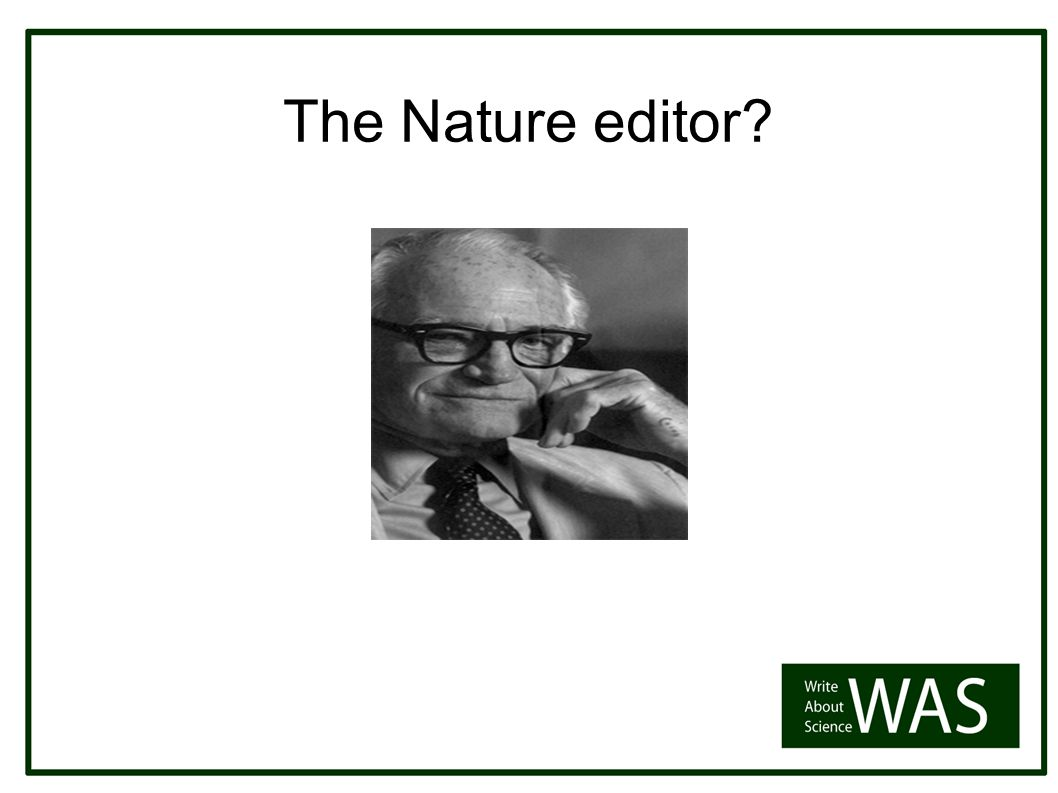 The Nature editor Howy Jacobs EMBO Reports
