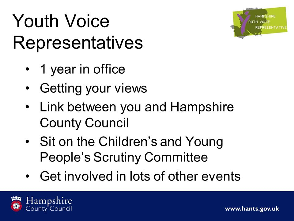 Youth Voice Representatives 1 year in office Getting your views Link between you and Hampshire County Council Sit on the Children's and Young People's Scrutiny Committee Get involved in lots of other events